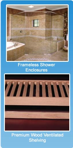 Glass Shower U0026 Tub Enclosures Premium Wood U0026 Wire Shelving Vanity Mirrors/  Mirror Walls